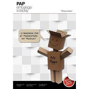 Brochure med præsentationsmateriale fra PAP emballage og display