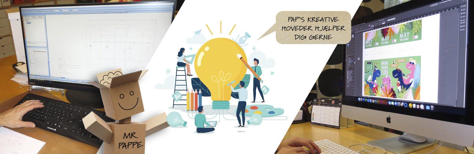 Designafdelingen tilbyder: Idé, udvikling, test, konstruktion og grafisk layout